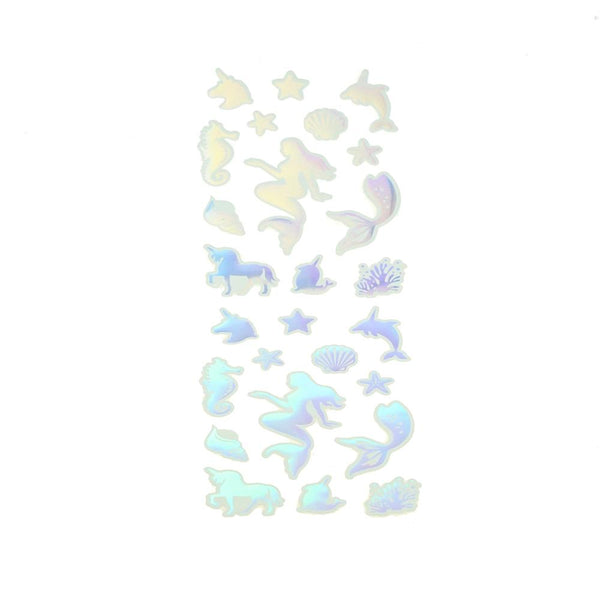 Holographic Mermaid and Unicorn Stickers, Silver, 26-Piece