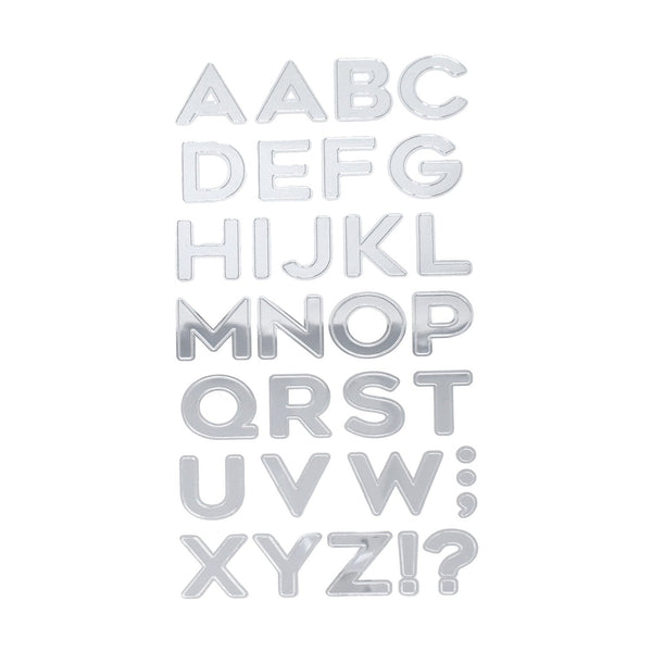 Caps Alphabet Foil Stickers, Silver, 1-1/4-Inch, 32-Piece