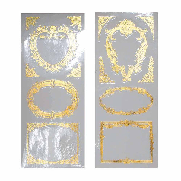 Elegant Frames Foil Stickers, Heart/Rectangle, Gold, 2-Sheets