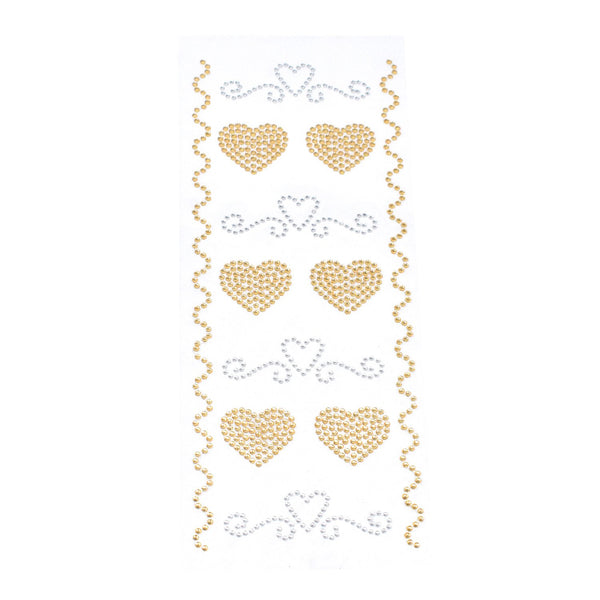 Heart Swirls Gem Art Stickers, 12-Piece