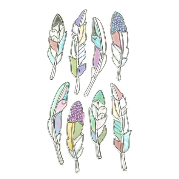 Feather Foil Craft Stickers, 8-Piece