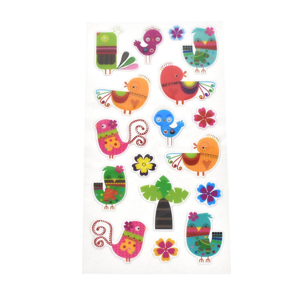 12-Pack, Colorful Birdie Epoxy Stickers, 17-Piece