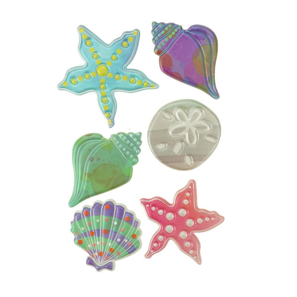 Puffy Embossed 3D Seashell Stickers, 6-Count