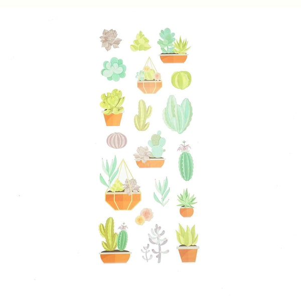 Succulent Clear Photo Safe Stickers, 19-Piece