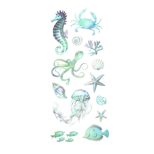 Sea Creatures Clear Photo Safe Stickers, 13-Piece