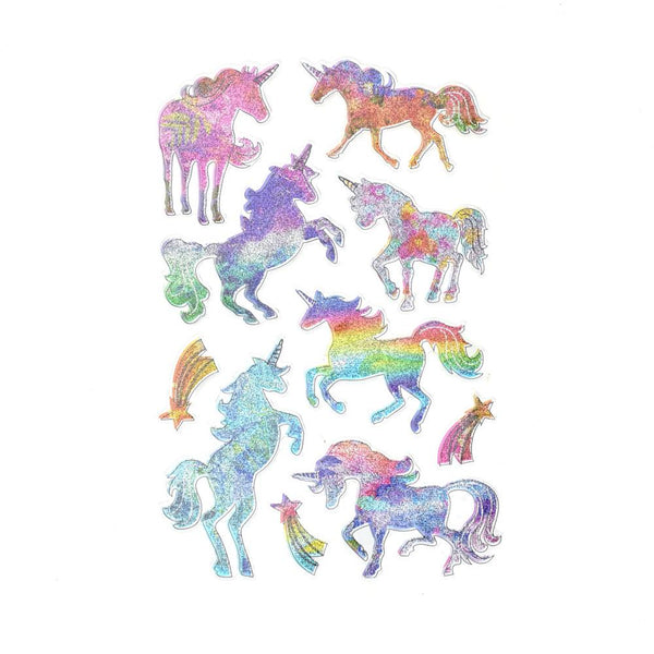 Magical Unicorn 3D Puffy Glitter Stickers, 10-Piece