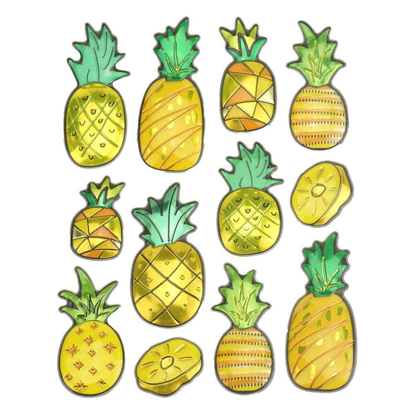 Metallic Pineapple Pop Up Stickers, 12-Piece