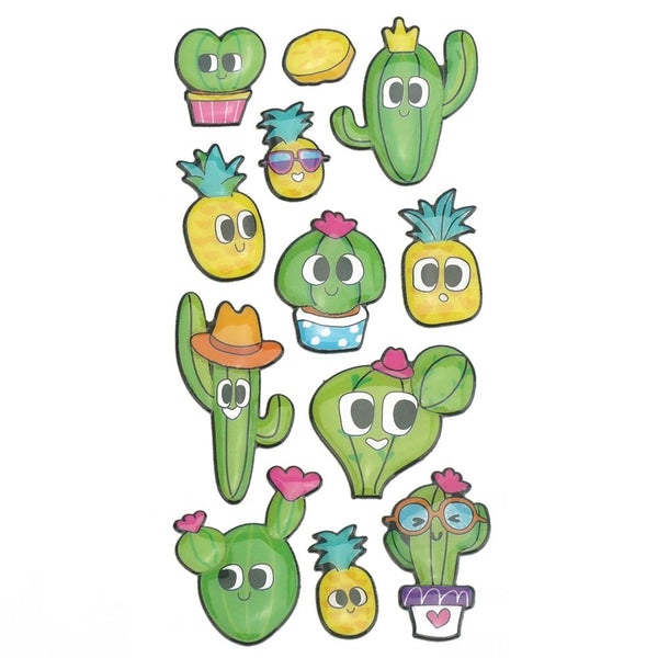 3D Glossy Finish Succulent Puffy Stickers, 12-Piece
