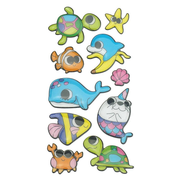 3D Glossy Finish Sea Pals Puffy Stickers, 12-Piece