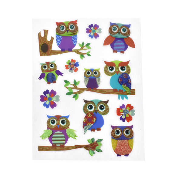 12-Pack, Colorful Owl Clear Glitter Stickers, 11-Piece