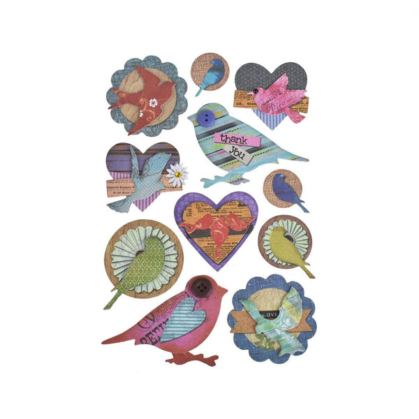 Colorful Chickadee 3D Paper Craft Stickers, 11-Piece