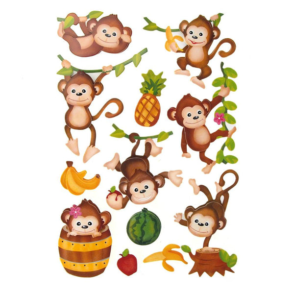 Monkey Business Handcrafted Chipboard Stickers, 12-count