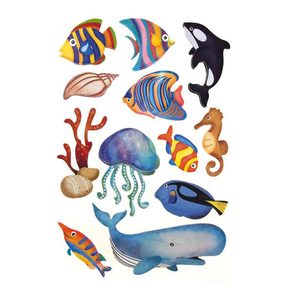 Sea World Handcrafted Chipboard Stickers, 12-count