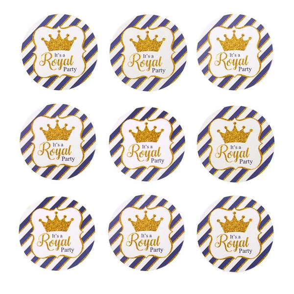 Glitter Royal Crown Seal Paper Stickers, Light Blue, 1-Inch, 24-Count