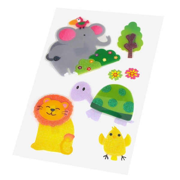 Safari Animals Pop Up Stickers, Giraffe/Turle/Camel/Hippo/Monkey/Croco, 6-Count