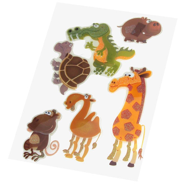 Safari Animals Pop Up Stickers, Hippo/Crocs/Turle/Camel/Monkey, 6-Count