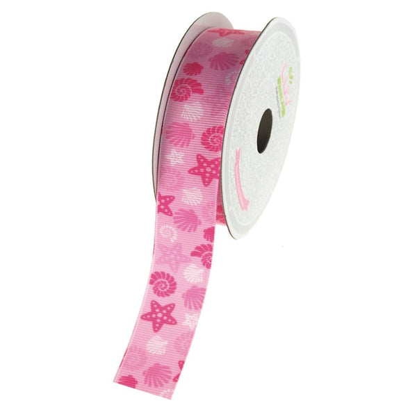 12-Pack, Starfish and Seashells Grosgrain Ribbon, 7/8-Inch, 10 Yards, Pink
