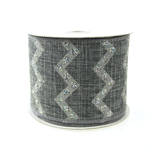 12-Pack, Chevron Glitters Canvas Ribbon, 2-1/2-inch, 10-yard, Silver