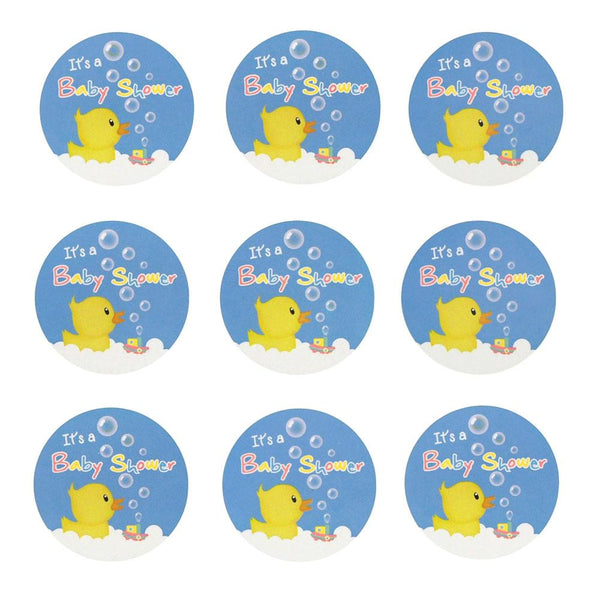 12-Pack, Rubber Ducky Seal Paper Stickers, Blue, 1-Inch, 24-Count