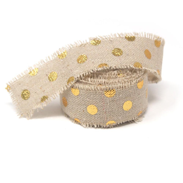 12 Pack, Fringed Linen Ribbon with Metallic Dots, 1-Inch, 5-Yard, Gold