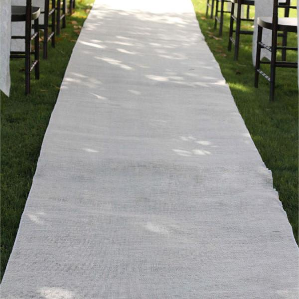 12-Pack, Burlap Aisle Runner Beach Garden Wedding, 36-inch x 100-feet, Ivory