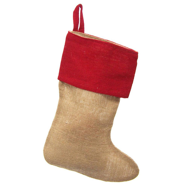 12-Pack, Natural Burlap Christmas Stockings w/ Red Cuff, 17-inch, 6-Piece