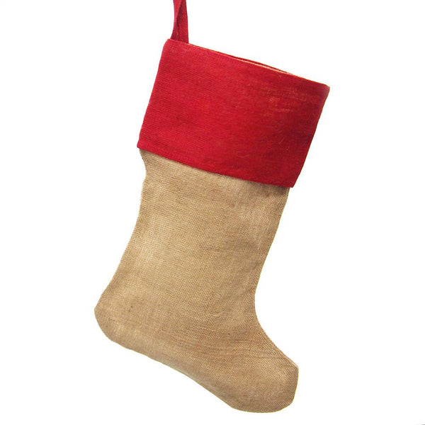 12-Pack, Natural Burlap Christmas Stocking w/ Red Cuff, 24-inch