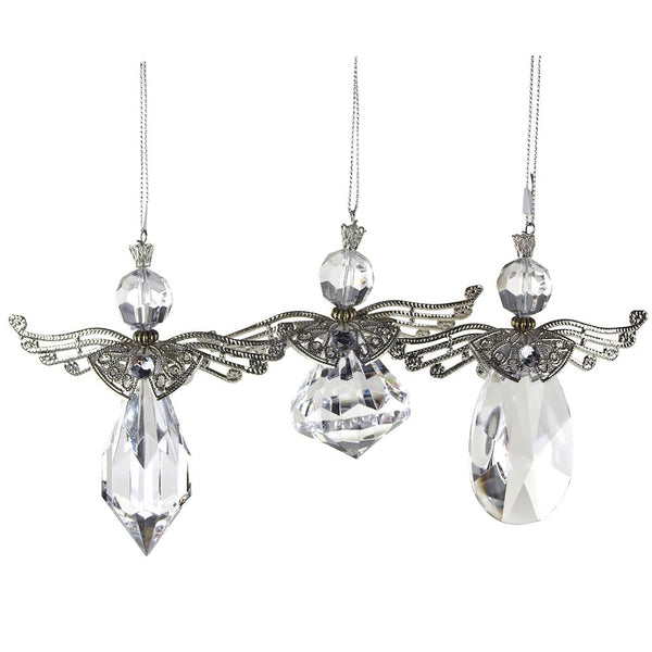 Acrylic Crystal Angel Wing Christmas Ornaments, Clear, 4-Inch, 3-Piece