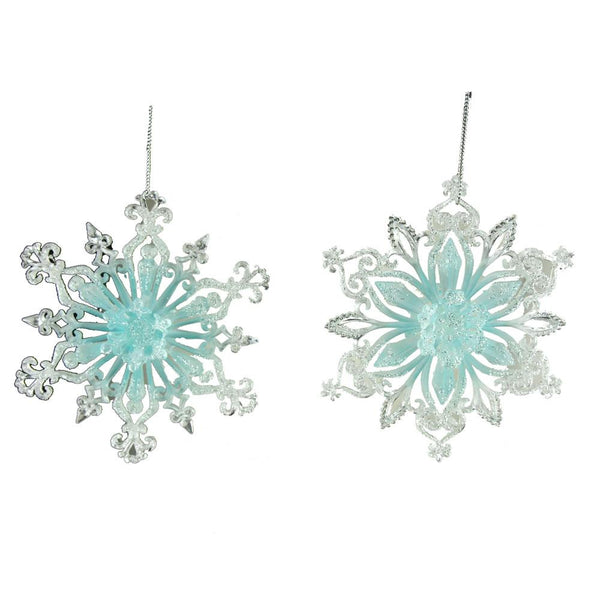 Acrylic Icy Blue Snowflake Christmas Ornament, 5-Inch, 2-Piece