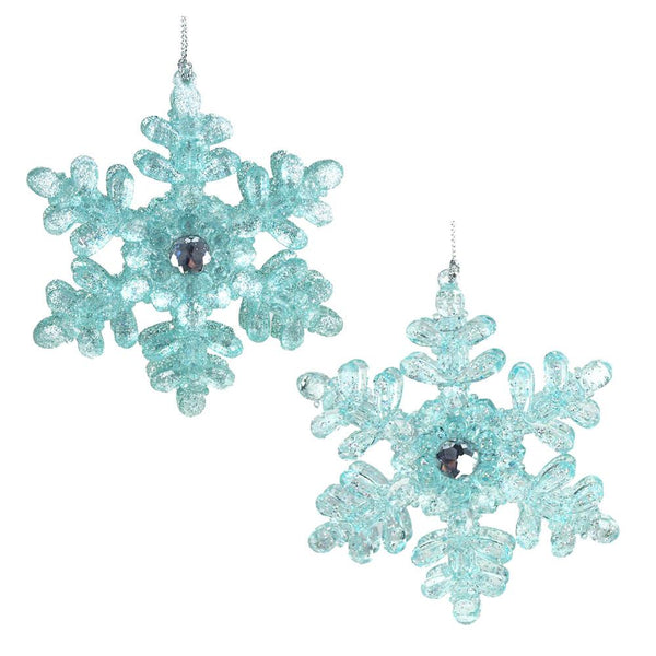 Acrylic Icy Snowflakes Christmas Ornaments, Blue, 4-Inch, 2-Piece