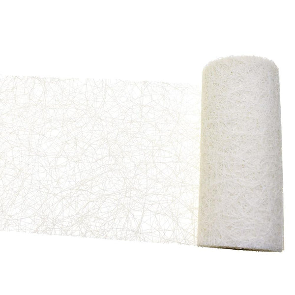 Rustic Faux Sisal Web Ribbon, Off-White, 6-Inch, 10-Yard