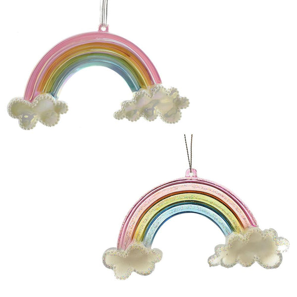 12-Pack Multi-Color Pastel Rainbow Ornaments with Glitter, 5-Inch, 2-Piece