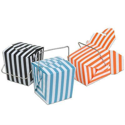 12-Pack, Striped Mini Take Out Boxes with Wire Handle, 1-5/8-inch, 12-Piece