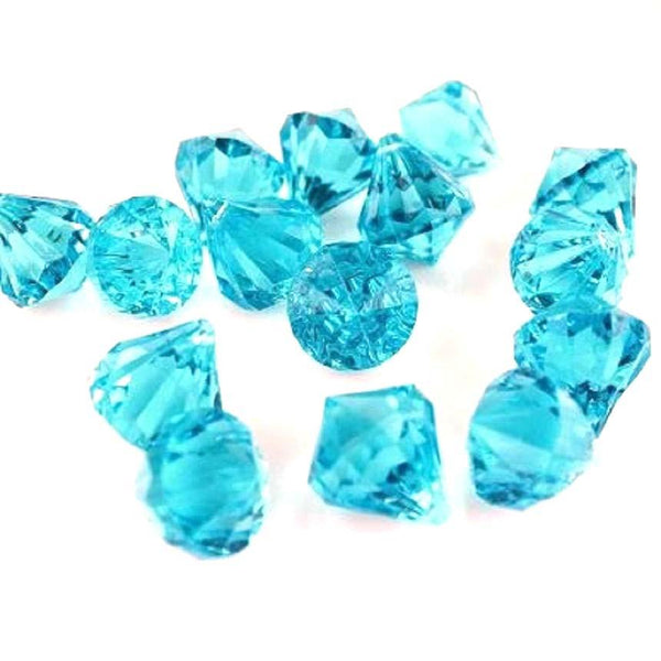 12-Pack, Acrylic Crystal Hanging Decor, 1-inch, 100-piece, Turquoise