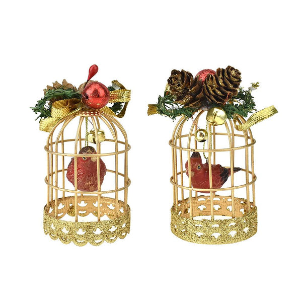 Red Cardinal in Bird Cage Christmas Ornaments, 4-Inch, 2-Piece
