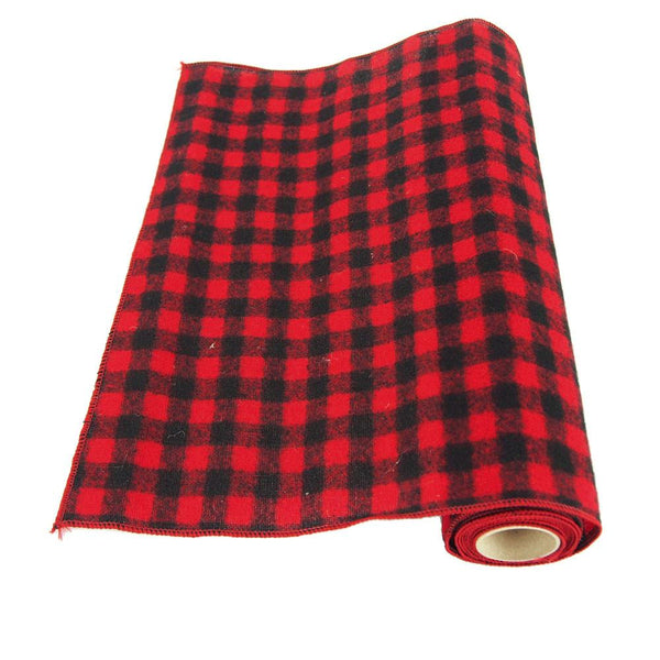 12-Pack, Plaid Checkered Christmas Velvet Wired Roll, Red/Black, 14-Inch, 10 Yards
