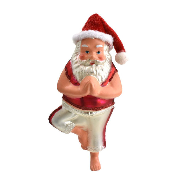 12-Pack, Glass Yoga Santa Claus Ornament, 6-1/4-Inch