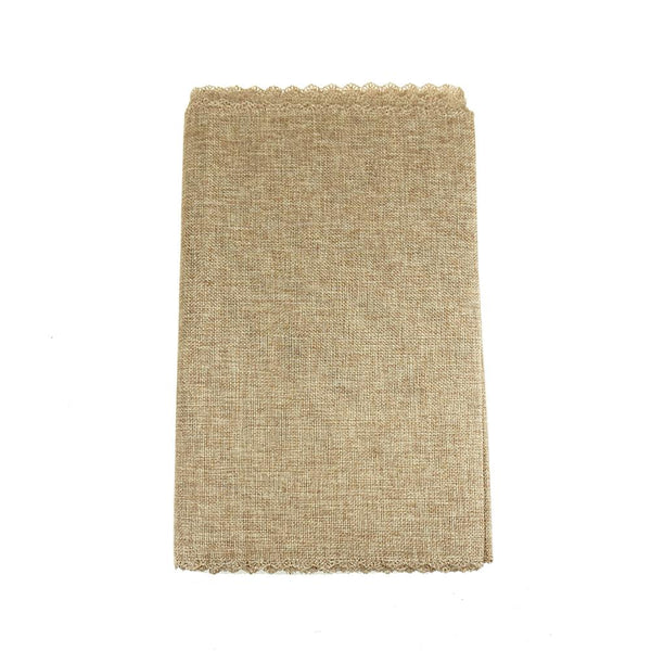 Faux Jute Table Runner with Picot Lace Edge, Natural, 14-Inch x 72-Inch