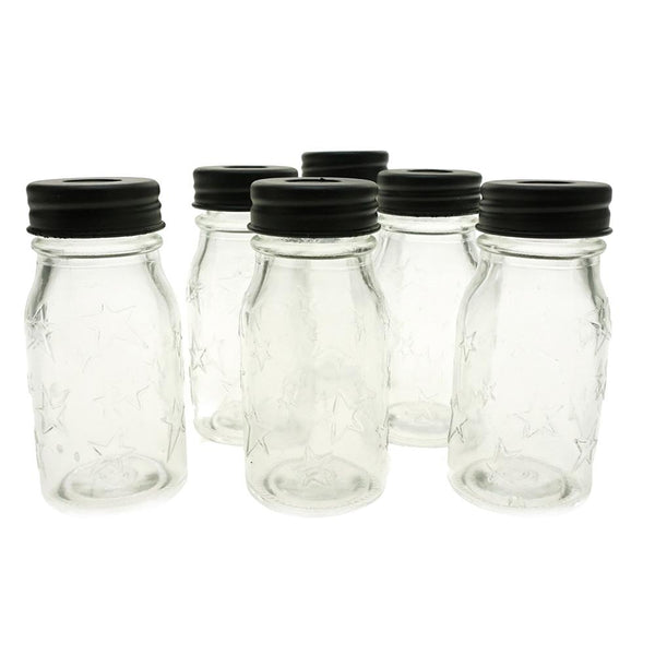 Clear Star Print Glass Mason Jars, 3-1/2-Inch, 6-Count