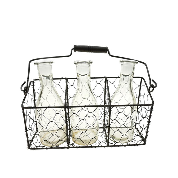 Three Glass Jar Wire Mesh Holder, 9-3/4-Inch
