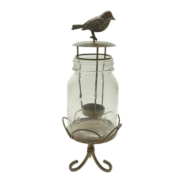 12-Pack, Small Mason Jar with Bird Designed Tea Light Holder and Stand, 11-1/2-Inch