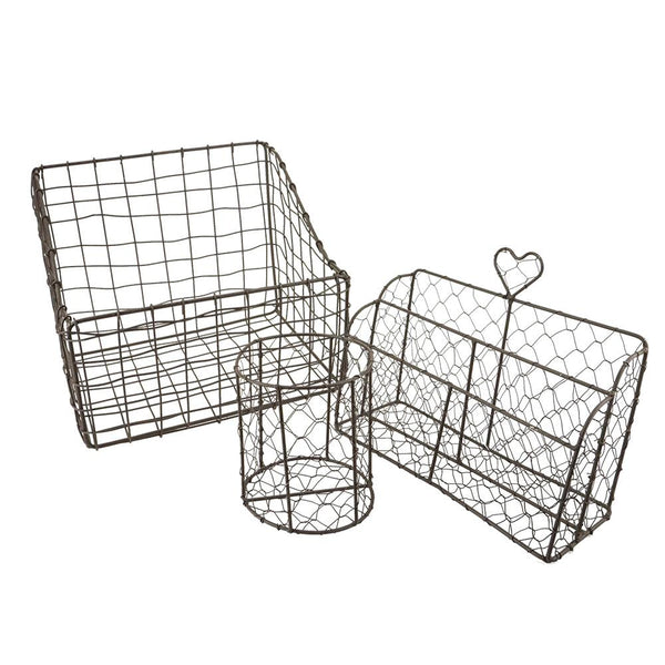 Wire Mesh Basket Set, 3-Piece