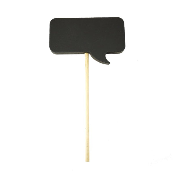 Rectangular Speech Bubble Chalkboard Stick, Black, 7-1/4-Inch