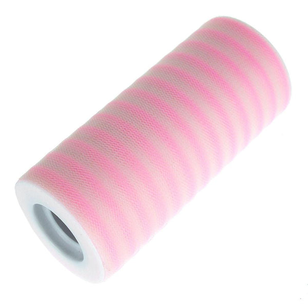 12-Pack, Stripe Tulle Spool Roll, 6-Inch, 25 Yards, Pink