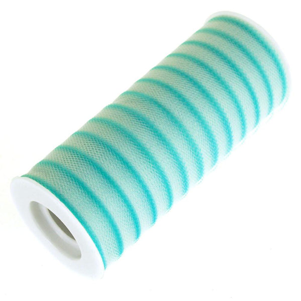 12-Pack, Stripe Tulle Spool Roll, 6-Inch, 25 Yards, Tropical Blue