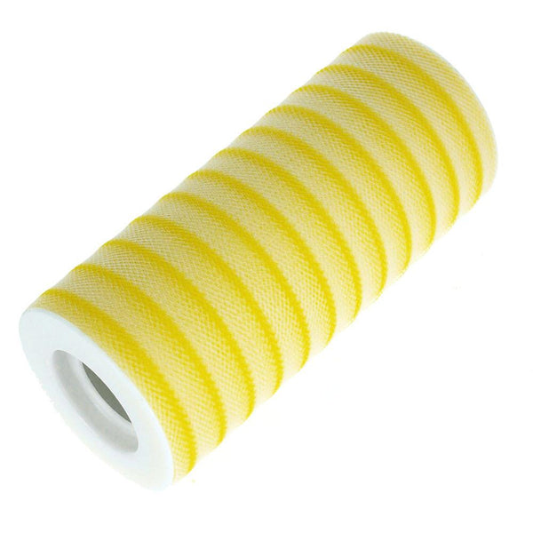 12-Pack, Stripe Tulle Spool Roll, 6-Inch, 25 Yards, Canary Yellow