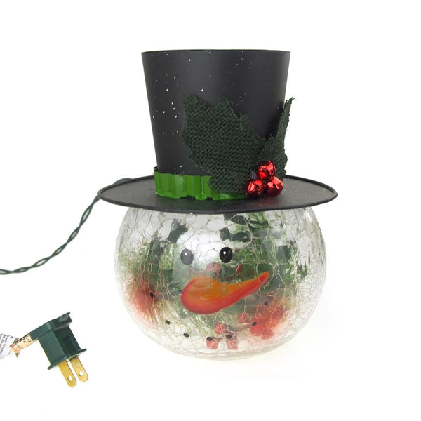 12-Pack, LED Glass Blushing Snowman Head with Top Hat Mistletoe Holiday Decor, Clear, 8-Inch