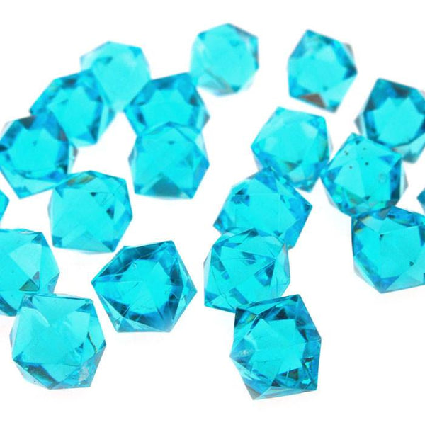 12-Pack, Acrylic Ice Rocks Twelve Point Star, 3/4-inch, 150-piece, Turquoise