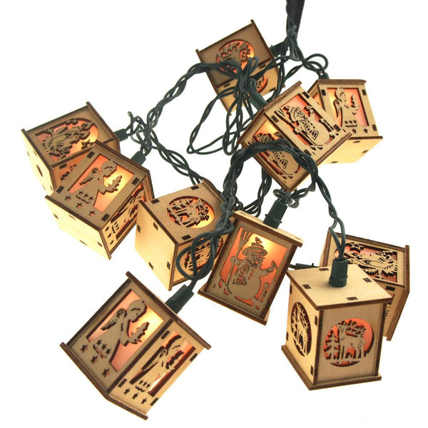 12-Pack, Christmas Wood Lantern 10 Lights Novelty Set, 2-Inch