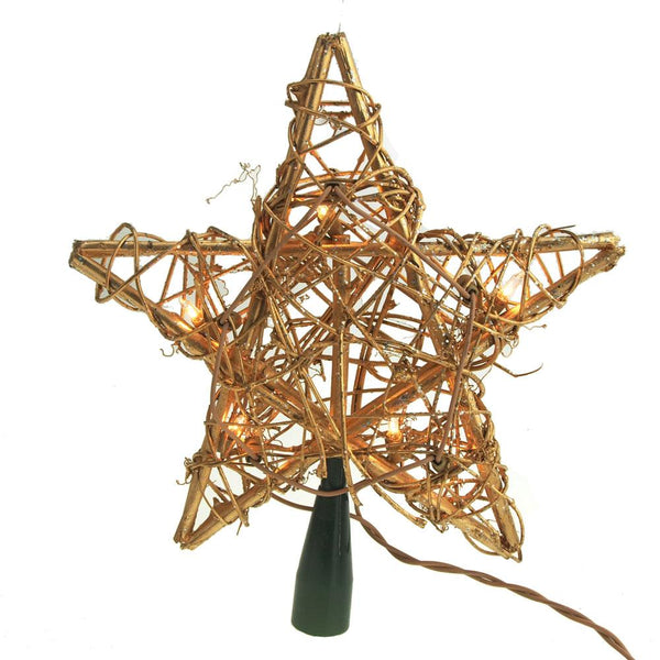 12-Pack, Rattan Star Christmas Tree Top, Gold, 10-Inch